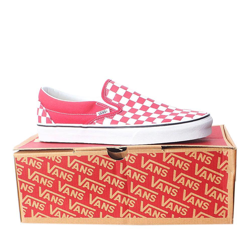 Vans Red White Checkerboard Classic Slip on  Sz 43