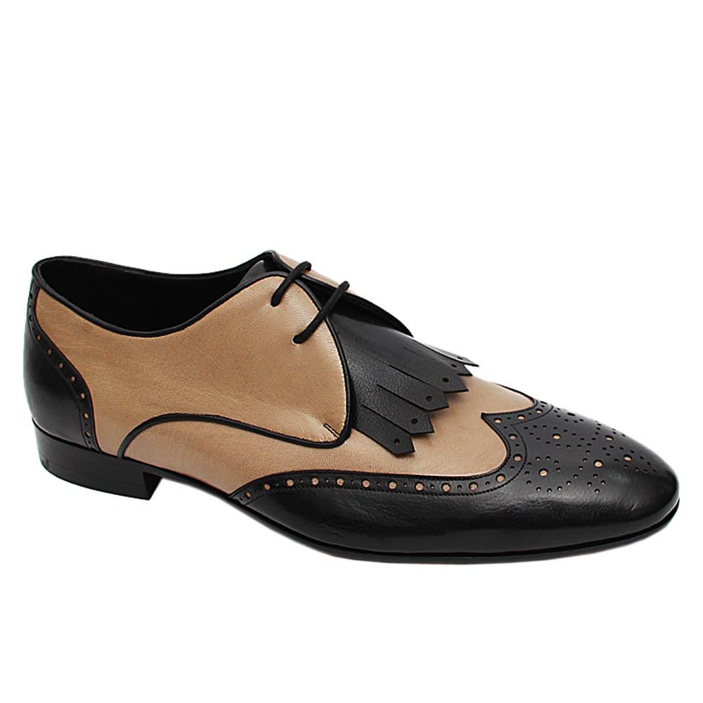 Black Biege Cristiano Italian Leather Derby Shoe