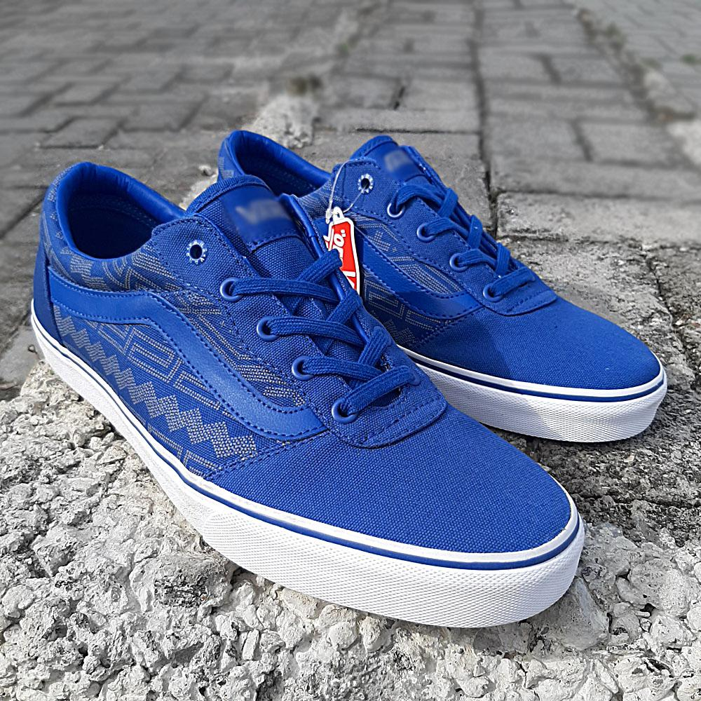 Blue Fabric Men Sneakers