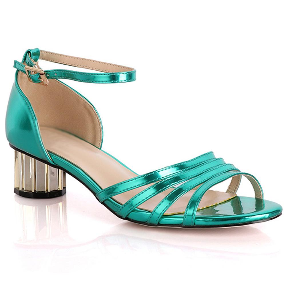 Green Marcuzzi Leather Low Heel Sandals