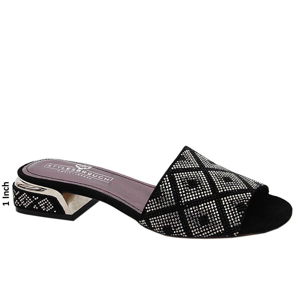 Black Alexa Studded Italian Leather Low Heel Mule