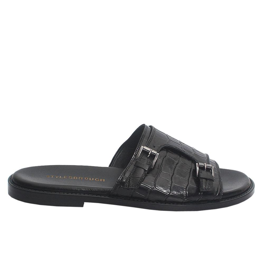 Black Siyah Croco Italian Leather Men Slippers