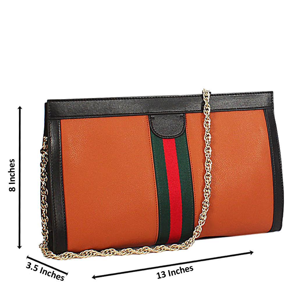 Brown Black Ava Italian Leather Shoulder Handbag