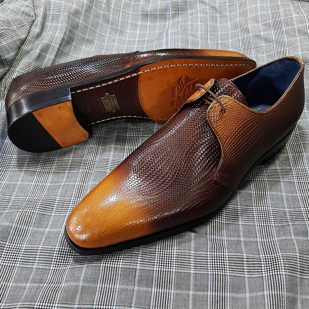 Brown Taba Woven Style Italian Leather Men Derby Shoes
