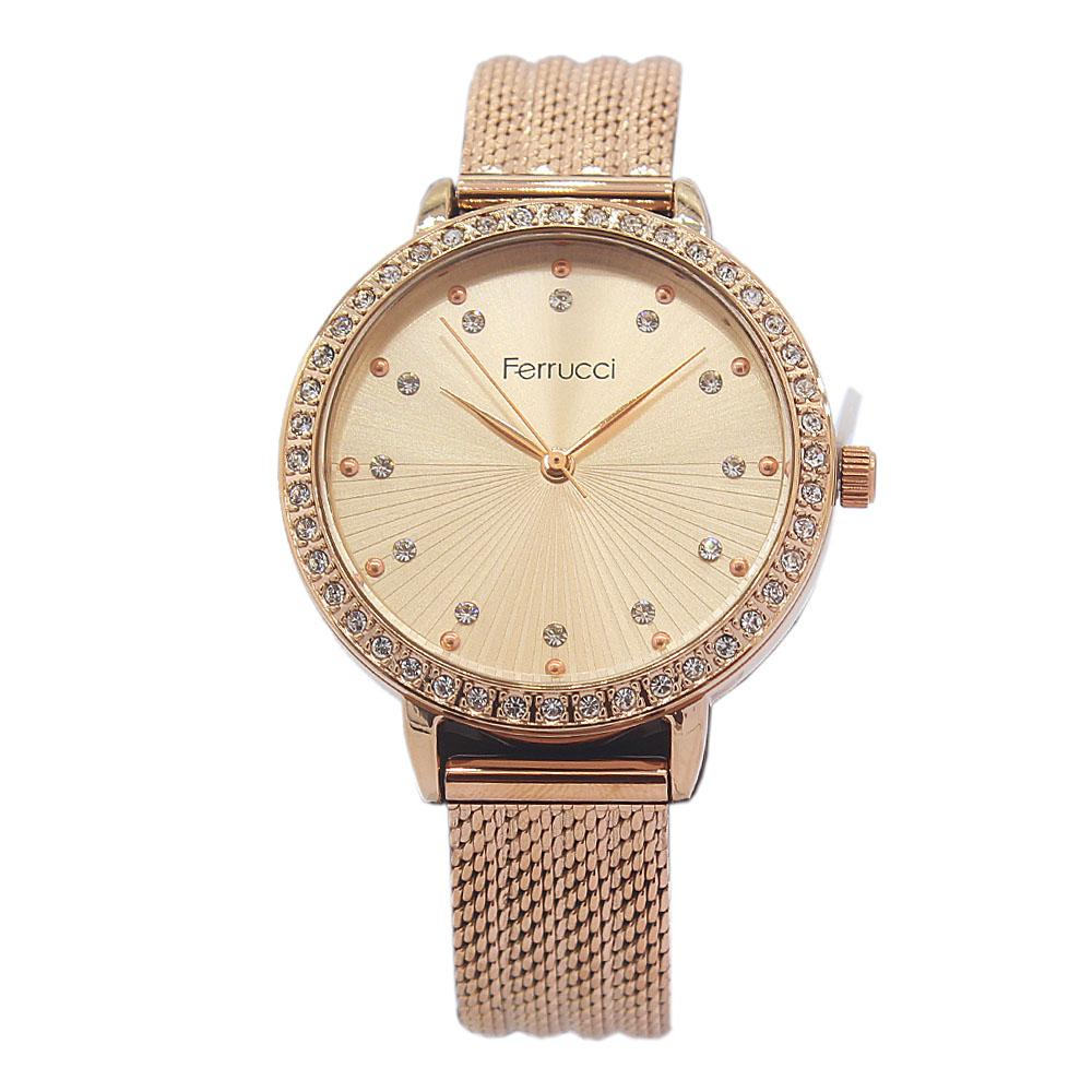 Ferrucci Studdded Rose Gold Stainless Mesh Ladies Watch