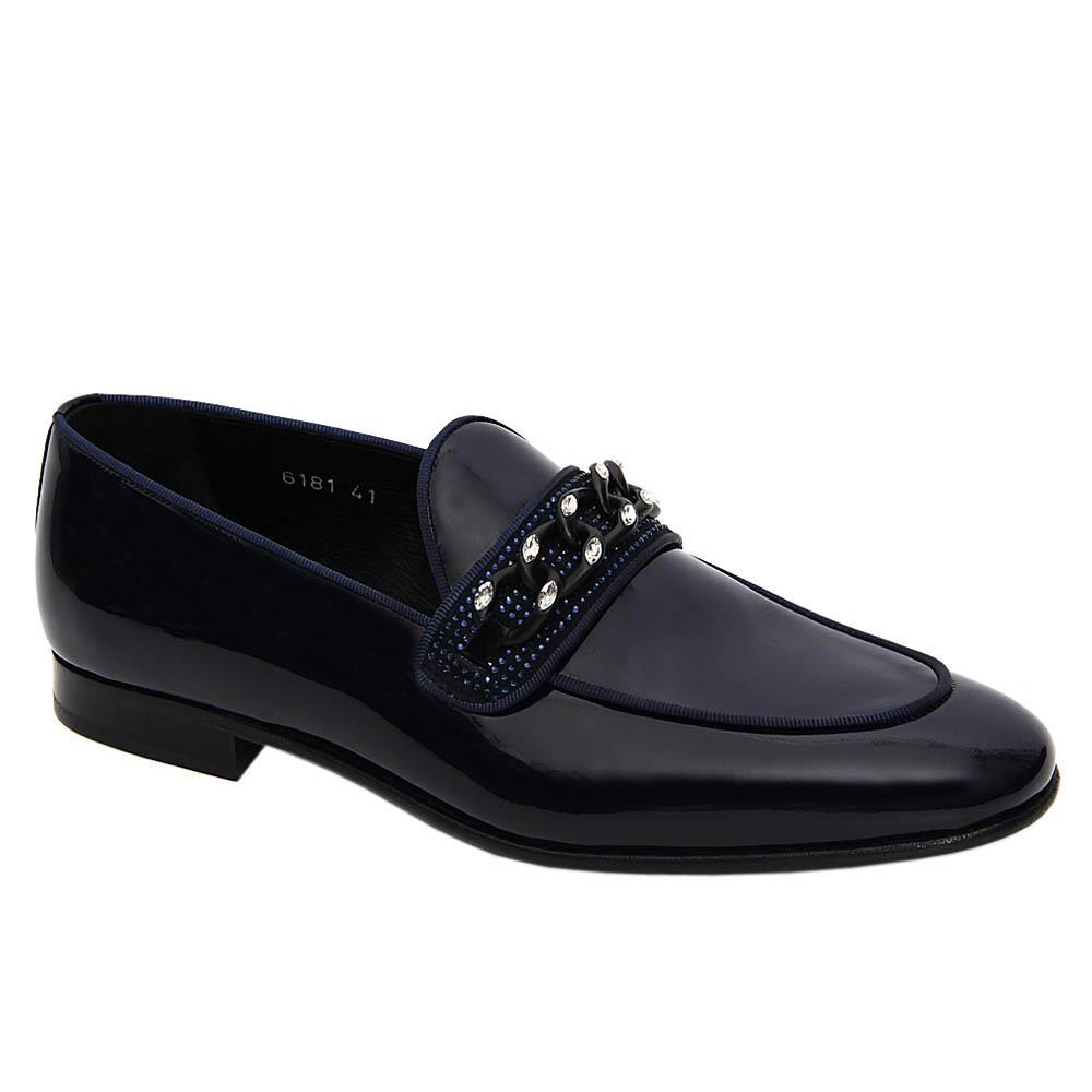 Dark Navy Angiolo Patent Italian Leather Loafers