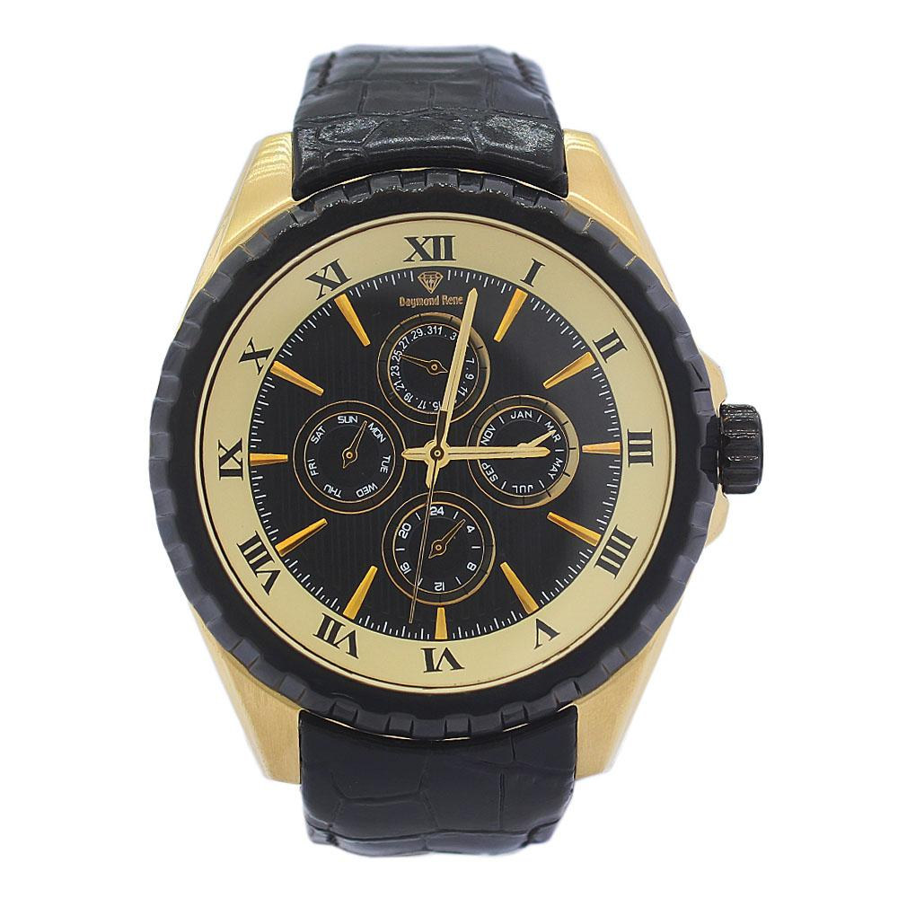 DR 5ATM Gold Black Leather Watch