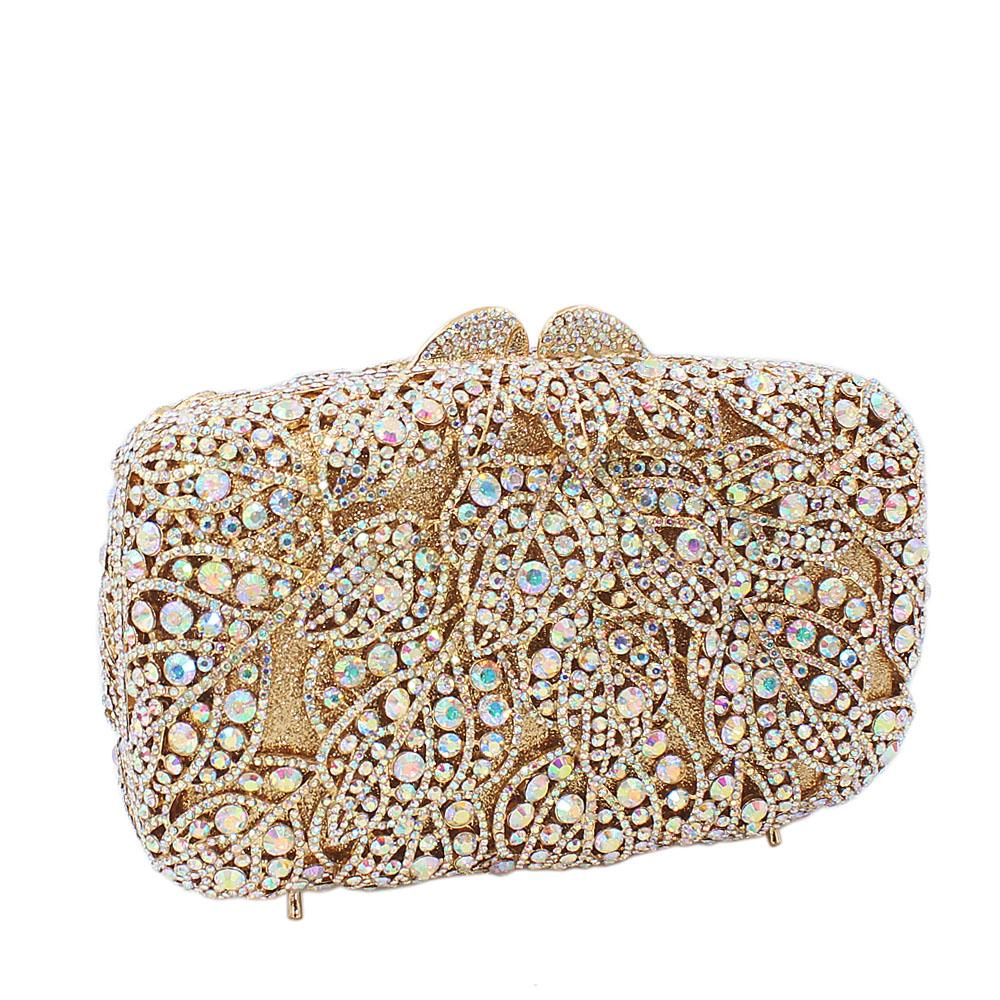 Gold Flora Diamante Crystals Clutch Purse