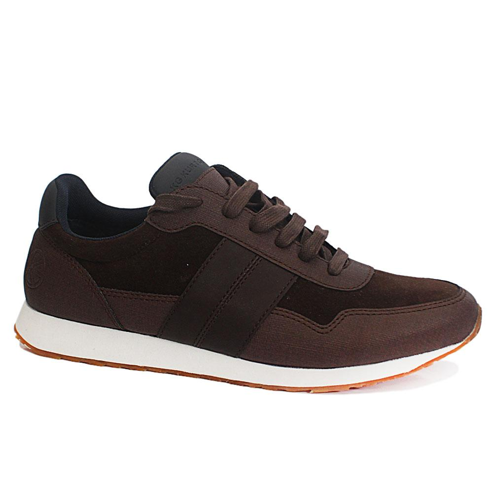 Coffee Suede Leather Sneakers