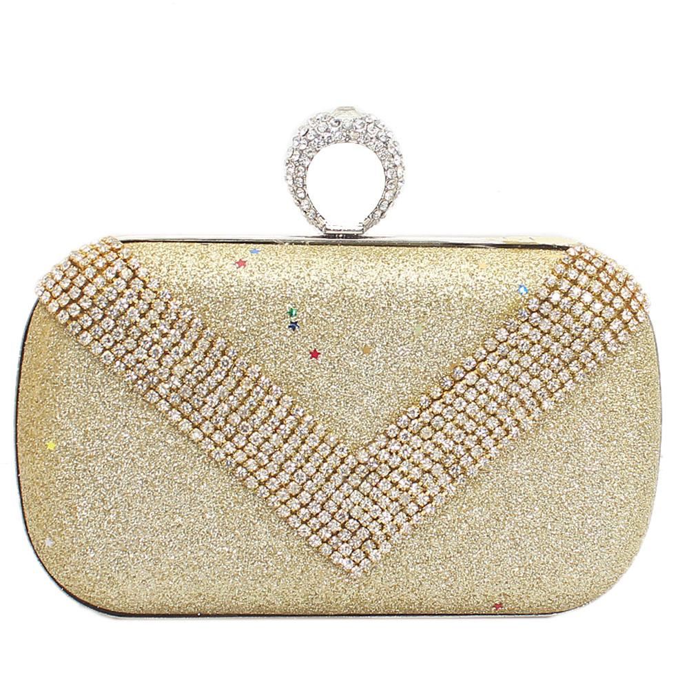 Gold Studded Avalon Shimmering Hard Clutch Purse