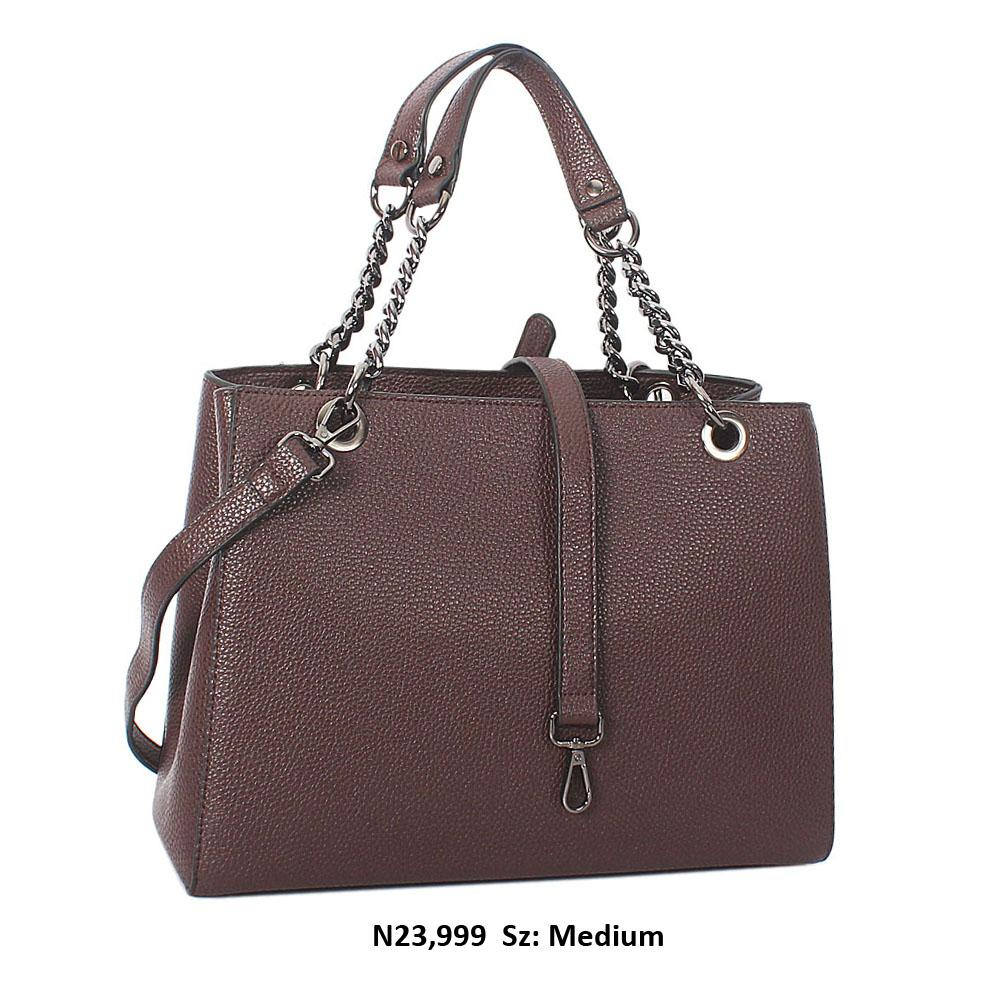 Coffee Camille Leather Chain Shoulder Handbag
