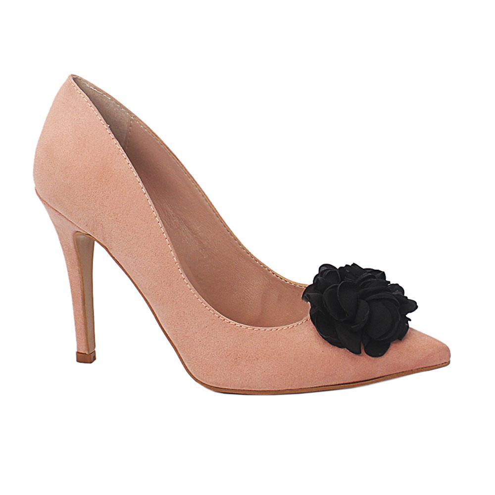 Peach Ursula Suede Leather Heel