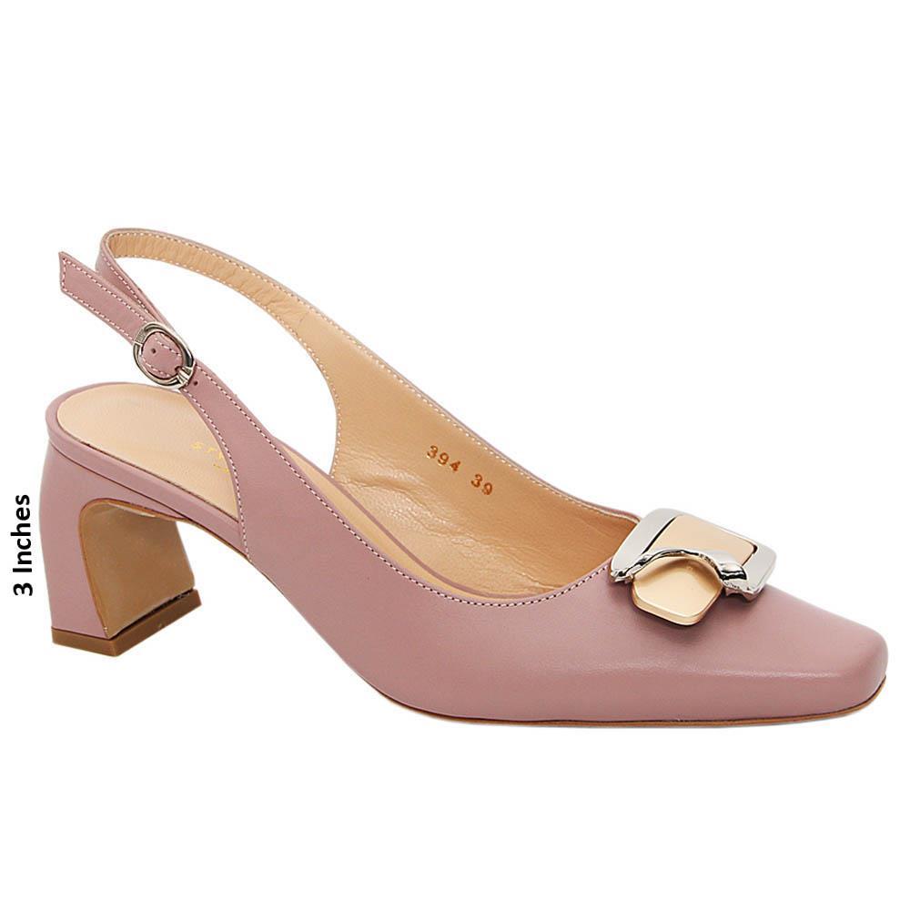 Blush Pink Gianna Tuscany Leather High Heel Slingback Pumps