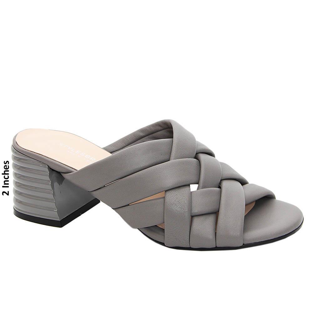 Gray Carolina Woven Style Tuscany Leather Mid Heel Mule