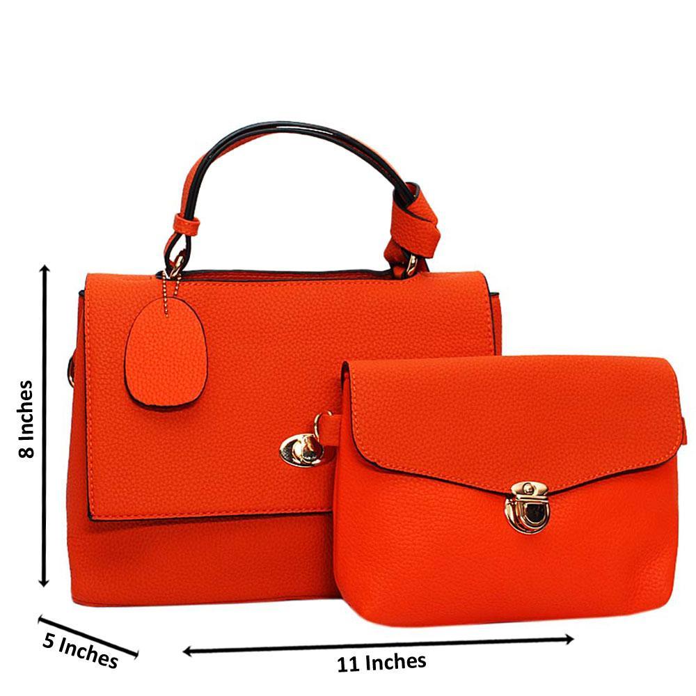 Orange Angelina Leather Medium Top Handle Handbag