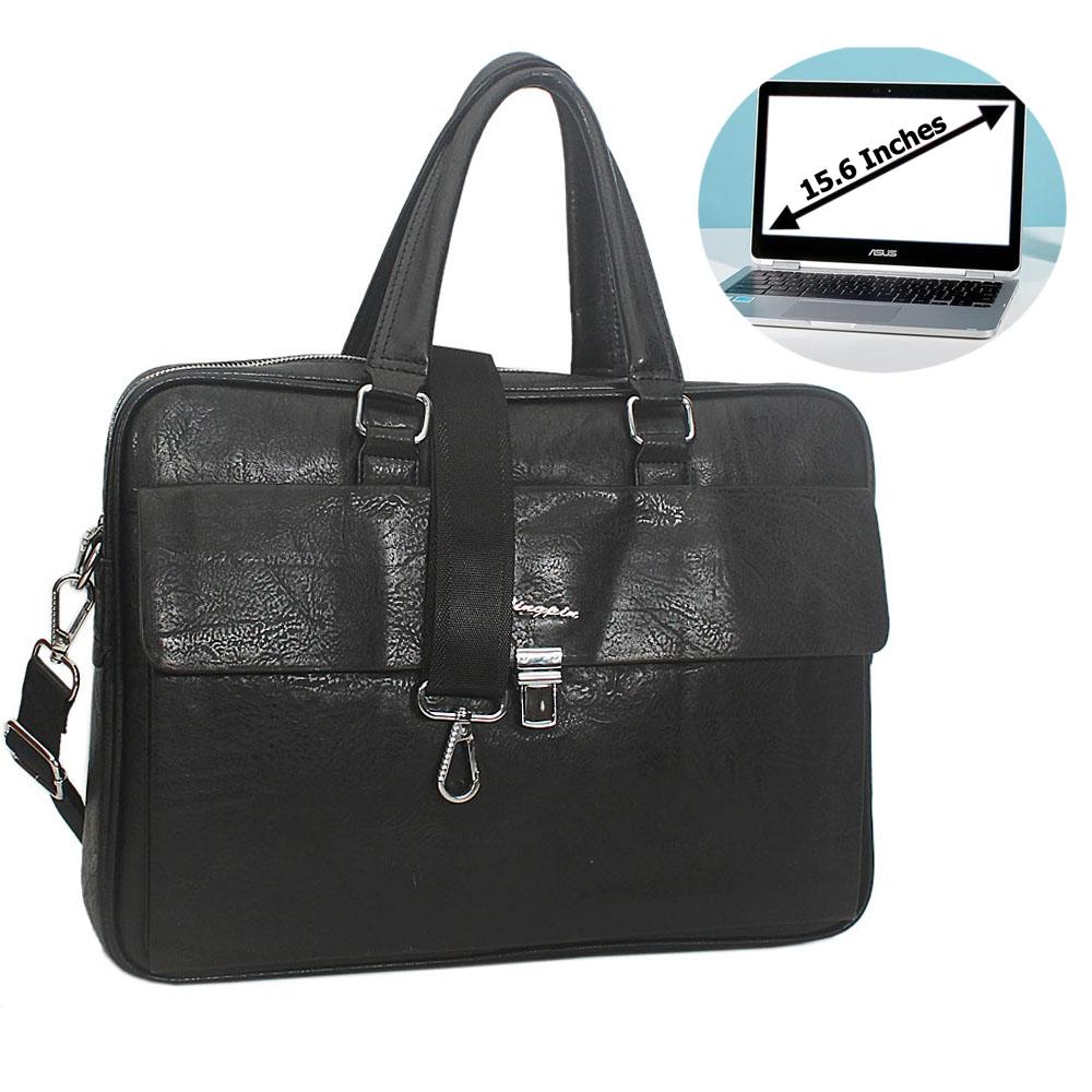Black Bruno Leather Flap Buckle Briefcase