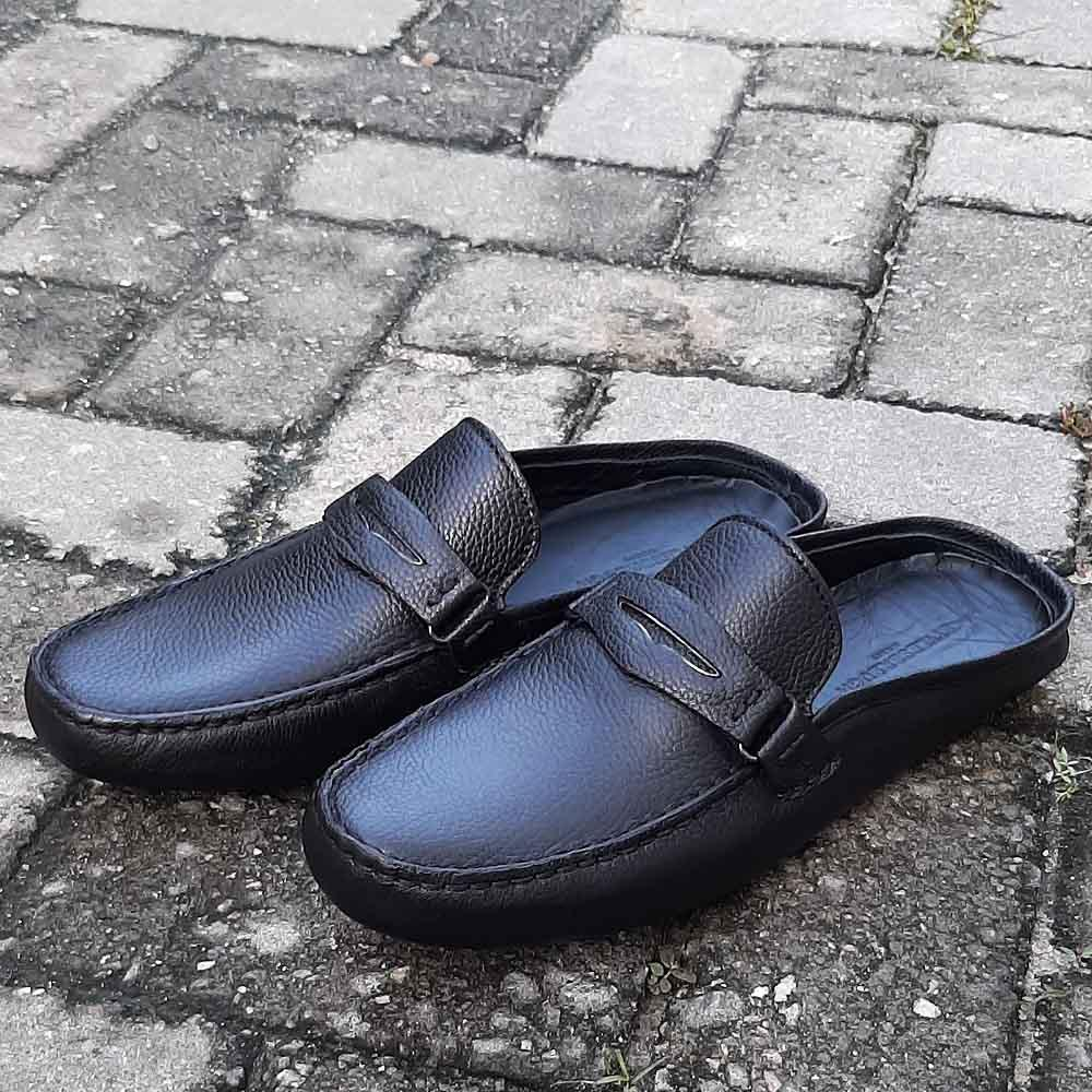 Black Filippo Italian Leather Men Half Shoe Slippers