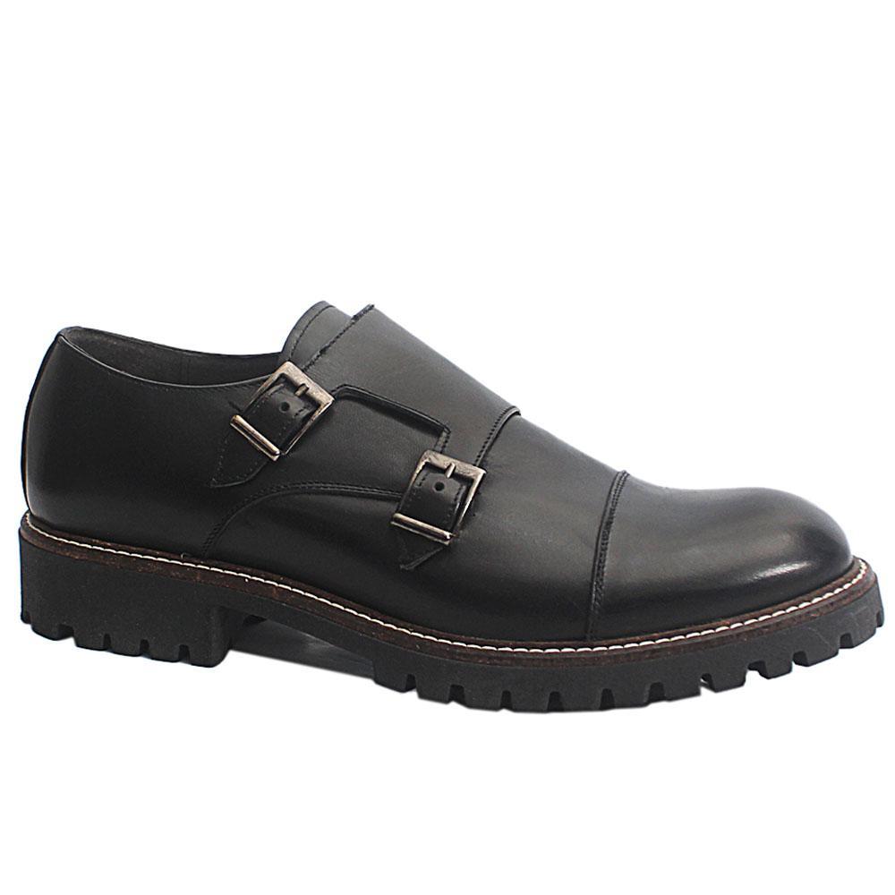 Black Vittorio Italia Leather Double Monk Strap Men Shoe