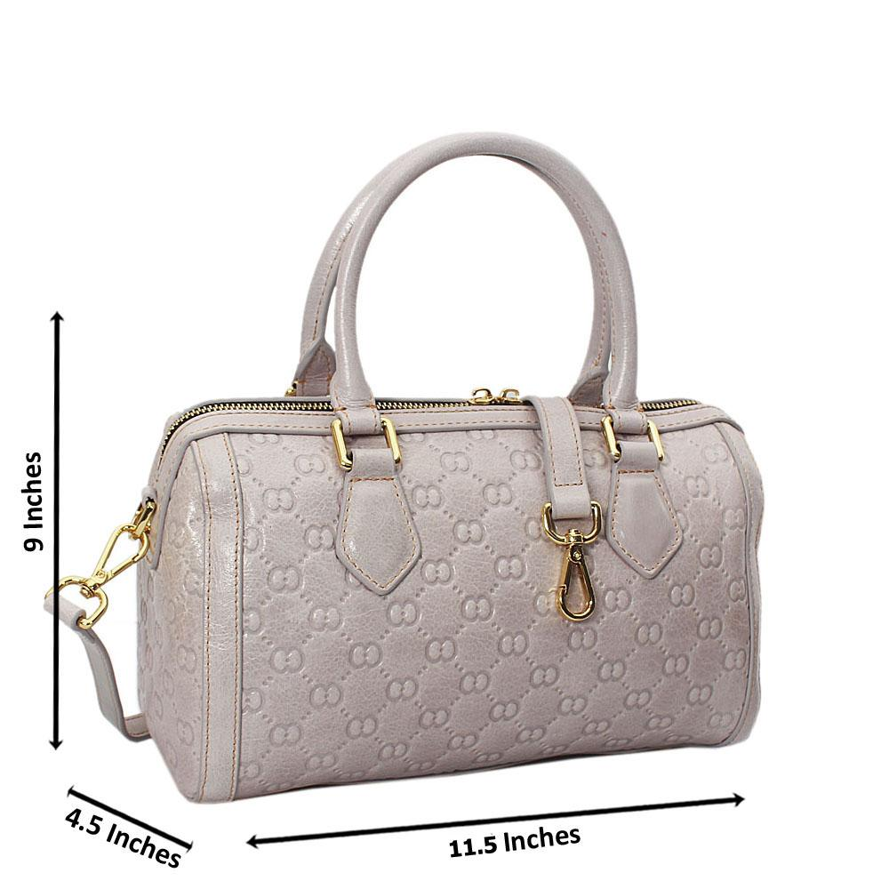 Elle Grey Croc Cowhide Leather Small Boston Handbag
