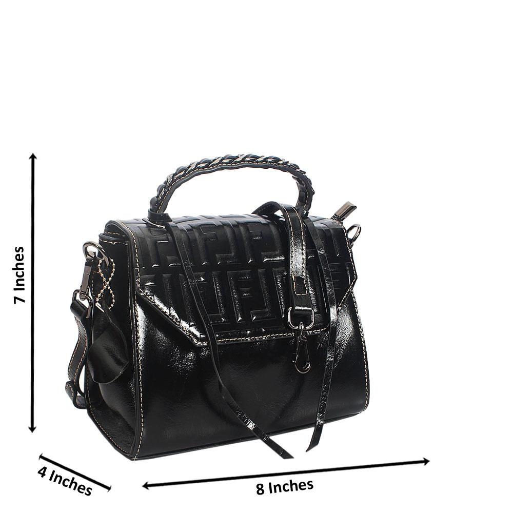 Black Fiona Embossed Shining Montana Leather Mini Top Handle Bag