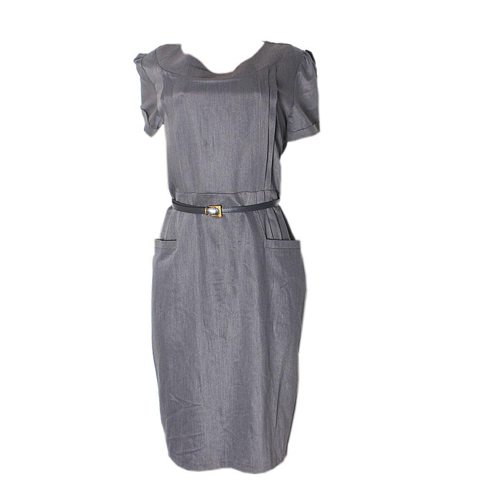 Rita Grey Ladies Dress With Belt-Eur52