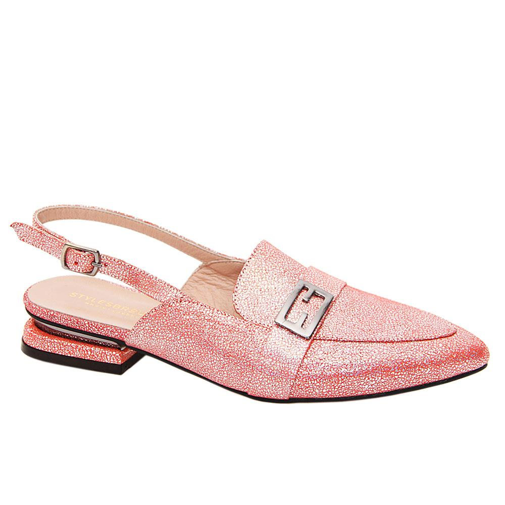 Pink Bexley Shinny Tuscany Leather Low Heel Slingback Pumps
