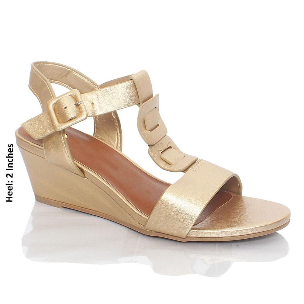 Gold Ellena Paris Smooth Leather Wedge