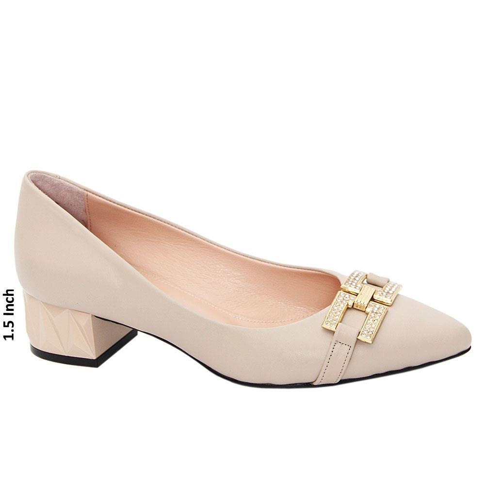 Beige Josefina Tuscany Leather Low Heel Pumps