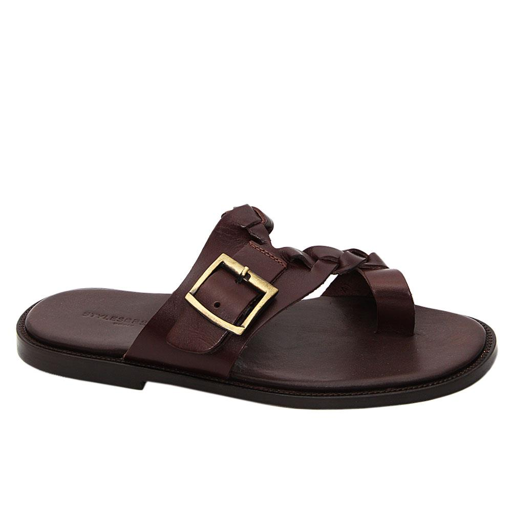 Coffee Romeo Italian Leather Slippers