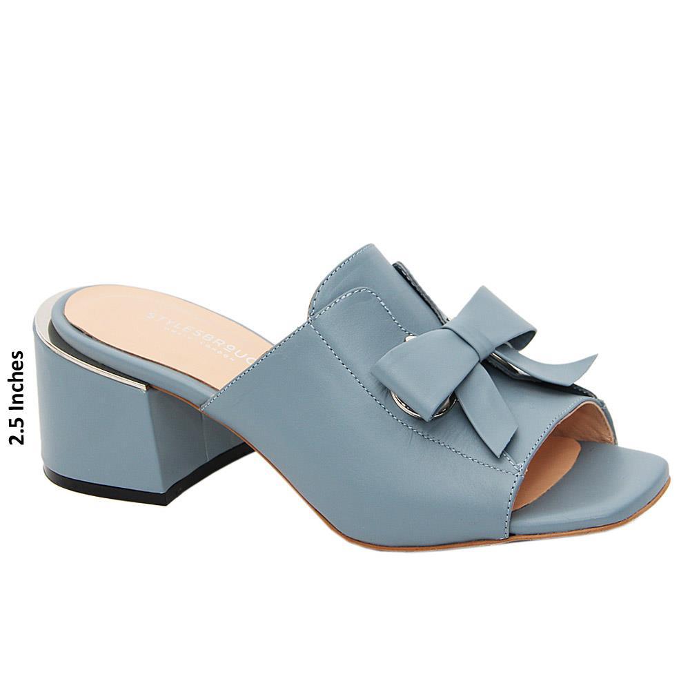 Dark Sky Blue Nevaeh Tuscany Leather Mid Heel Mule