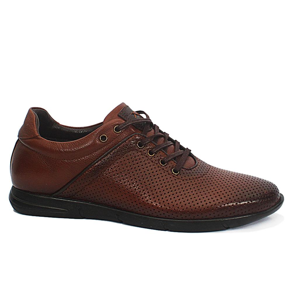 Dante Brown Breathable Leather Sneakers