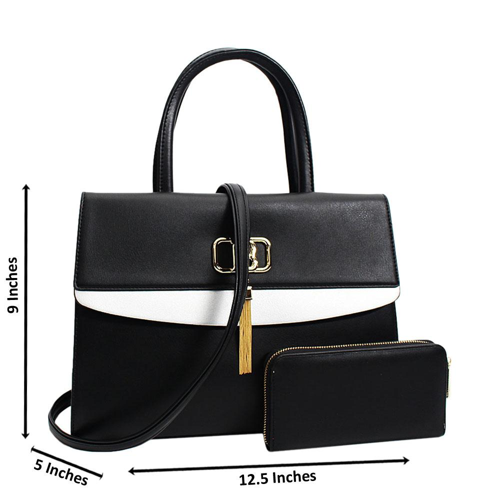 Black Graziella Leather Medium Tote Handbag