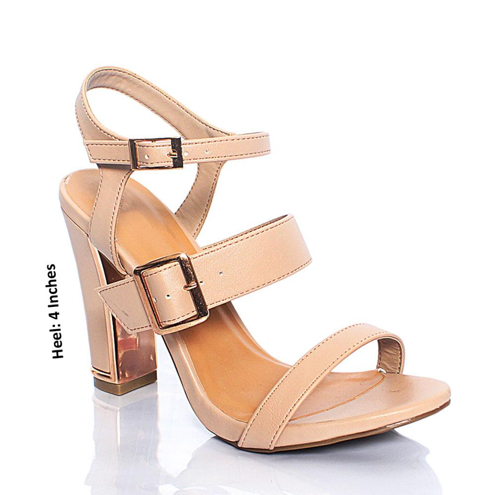 Beige BB Funtime Leather 4 Inch High Heels