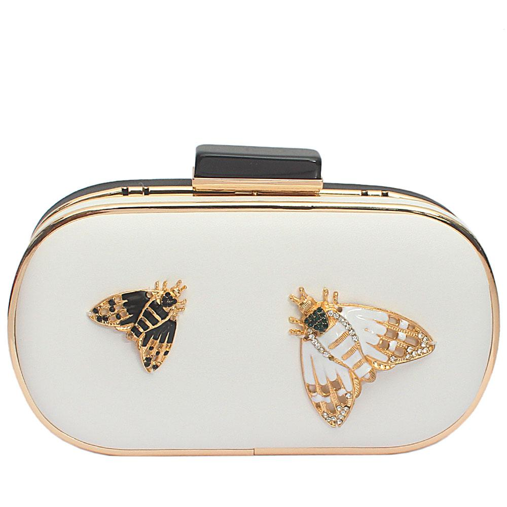 White Black Leather Butterfly Premium Hard Clutch