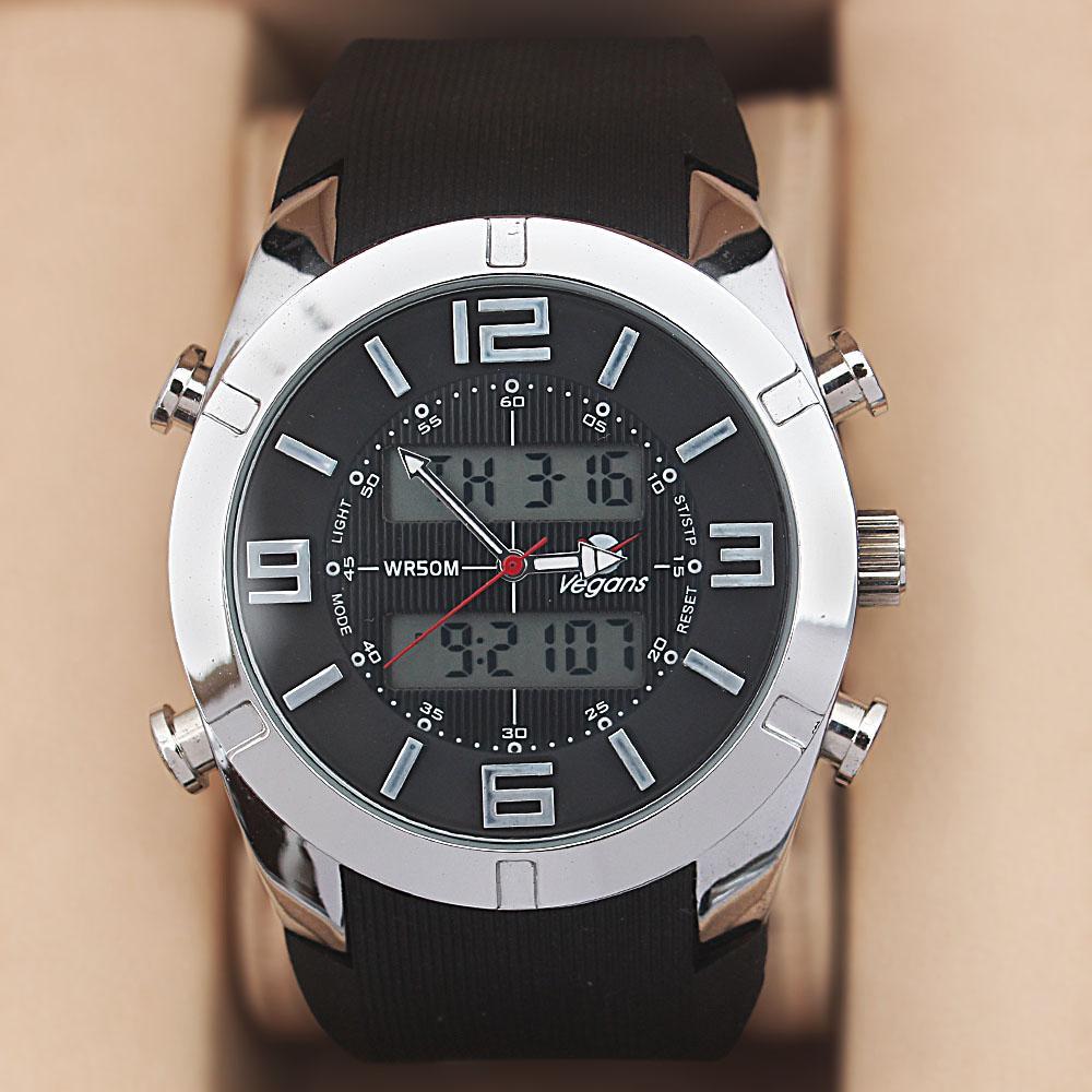 Vegans Silver Black Rubber Water Resistant 50M Analog-Digital Watch