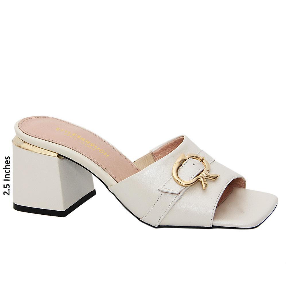 Cream Tessa Tuscany Leather Mid Heel Mule