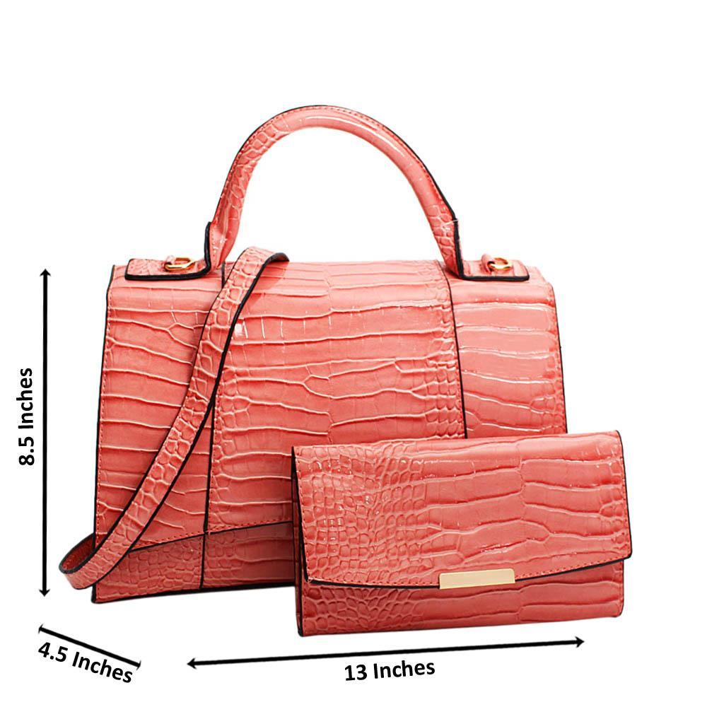 Pink Adrianna Patent Croc Leather Top Handle Handbag