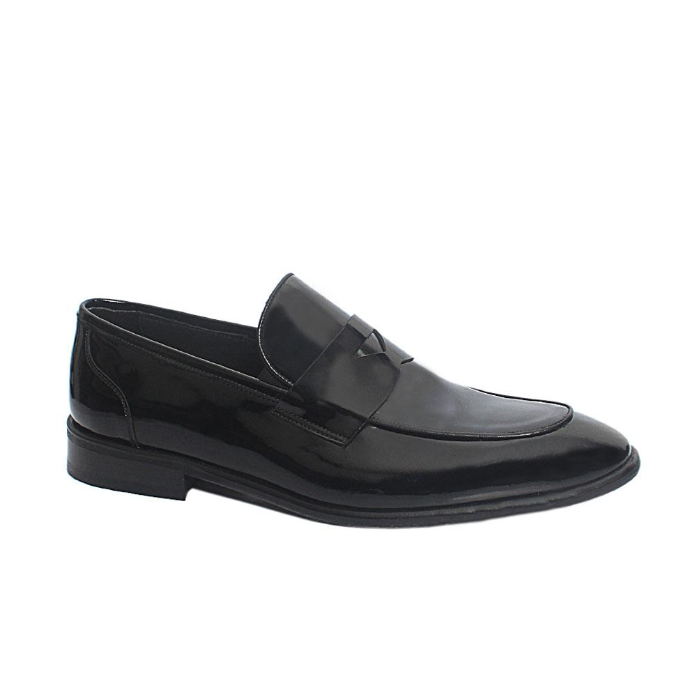 Black Oliver Patent Leather Penny Loafers
