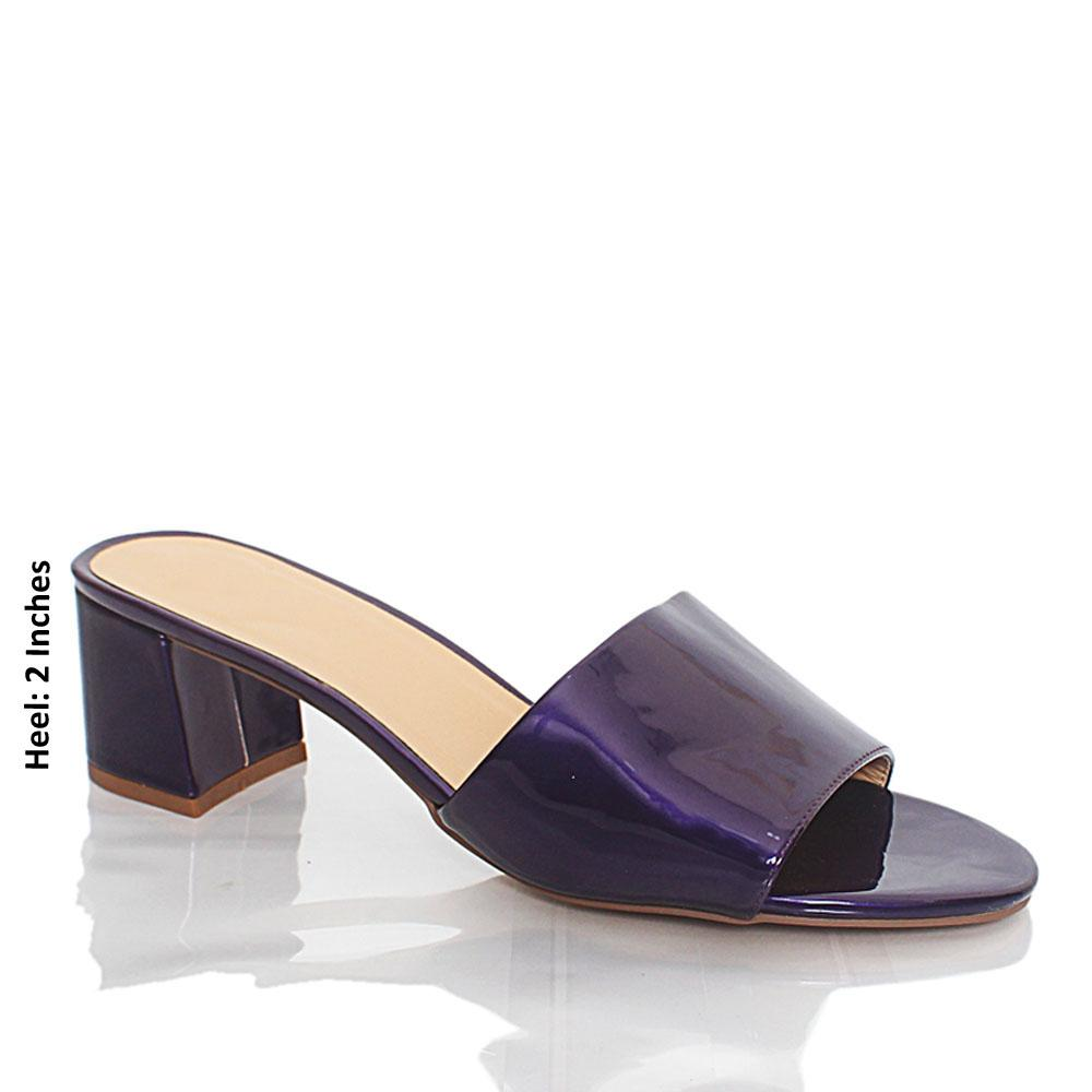 Purple Valentina Patent Leather Mule