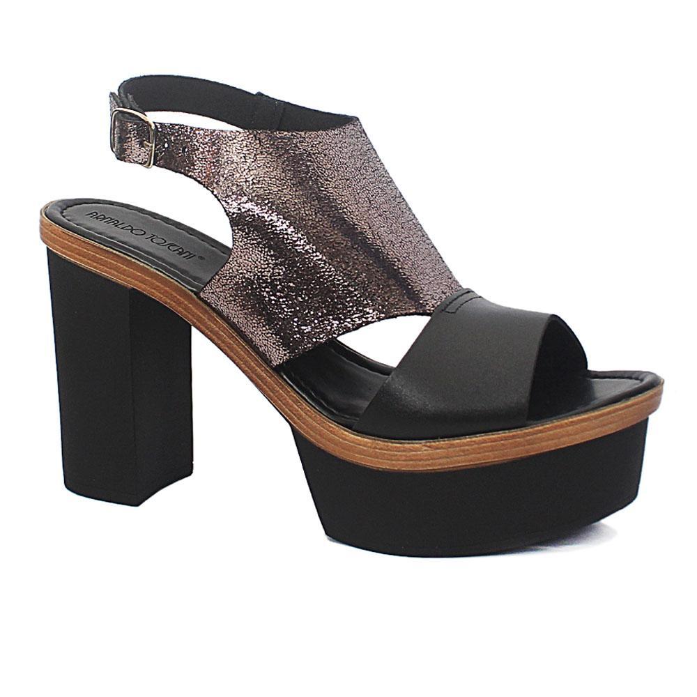 Black Metallic Gray Roxanne Leather Block Heel Sandals
