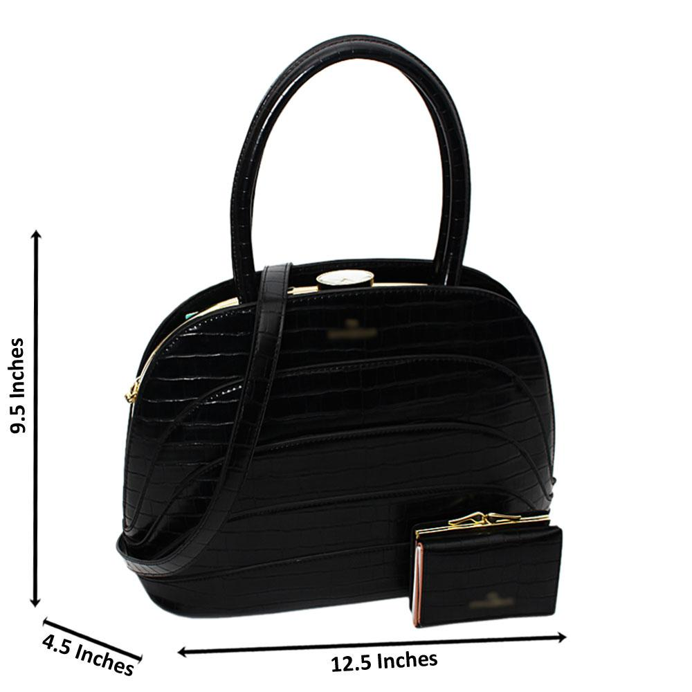 Black Sara Croc Leather Medium Tote Handbag