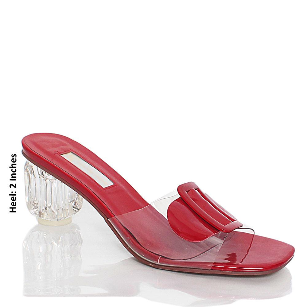 Wine Transparent Rubber Leather Mule