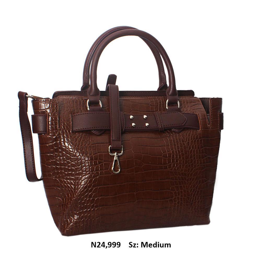 Coffee Kayla Croc Leather Tote Handbag