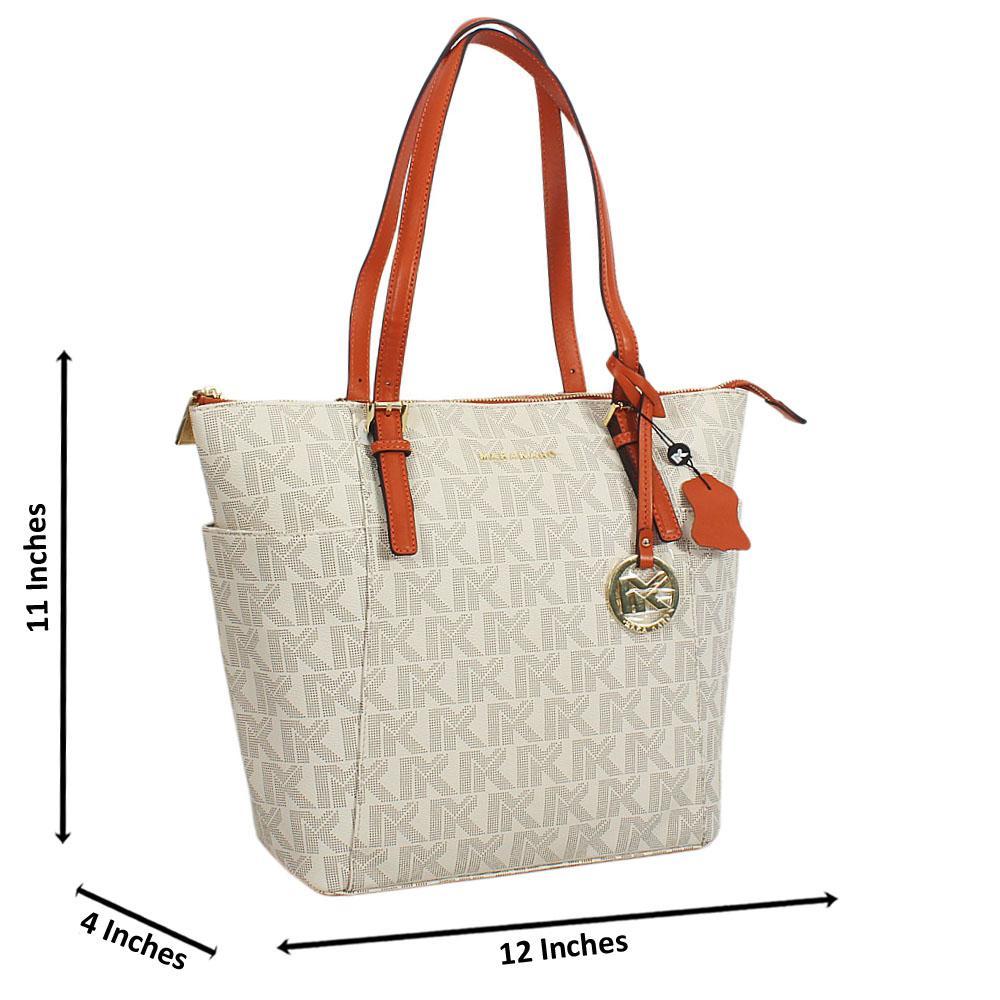 Cream Brown Print Leather Long Strap Shoulder Handbag