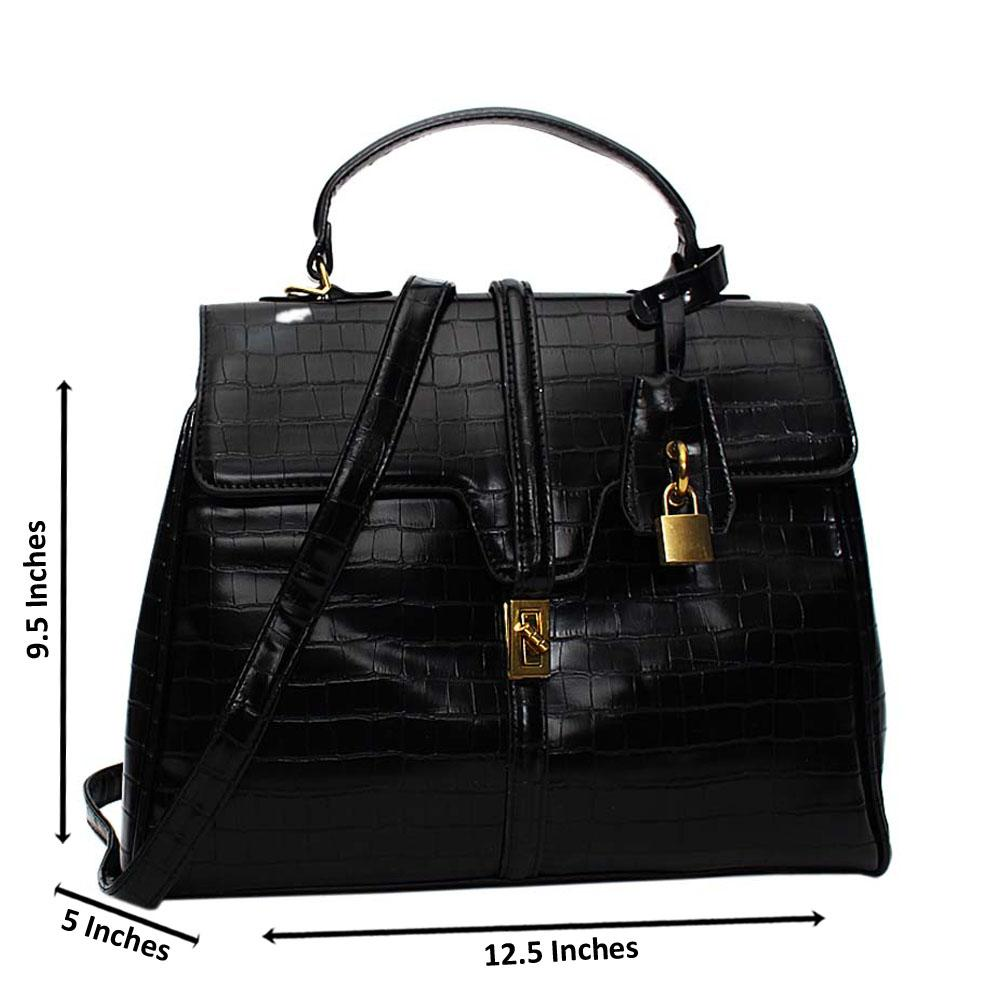 Black Azalea Croc Leather Medium Top Handle Handbag