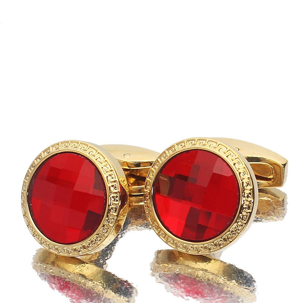 Gold Red Ceramic Stainless Steel Cufflinks