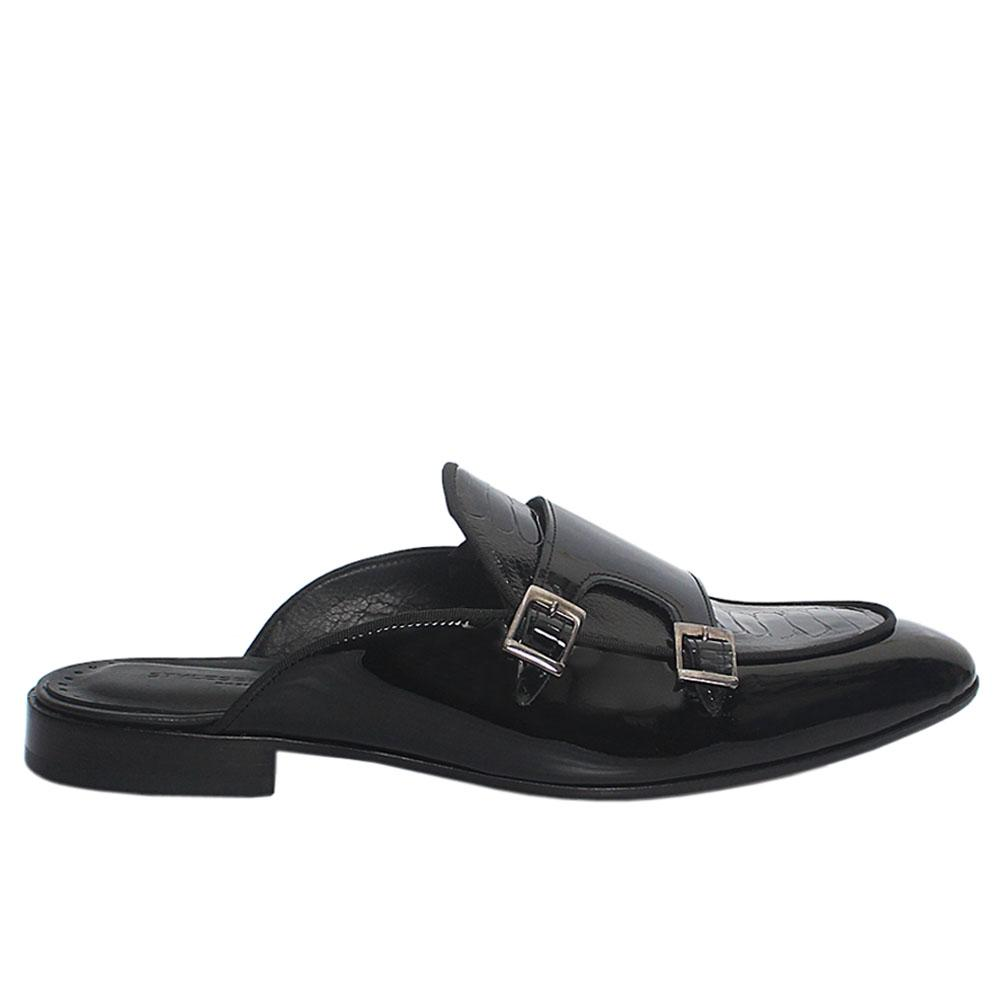 Black Patent Italian Leather Men Half Shoe Slippers