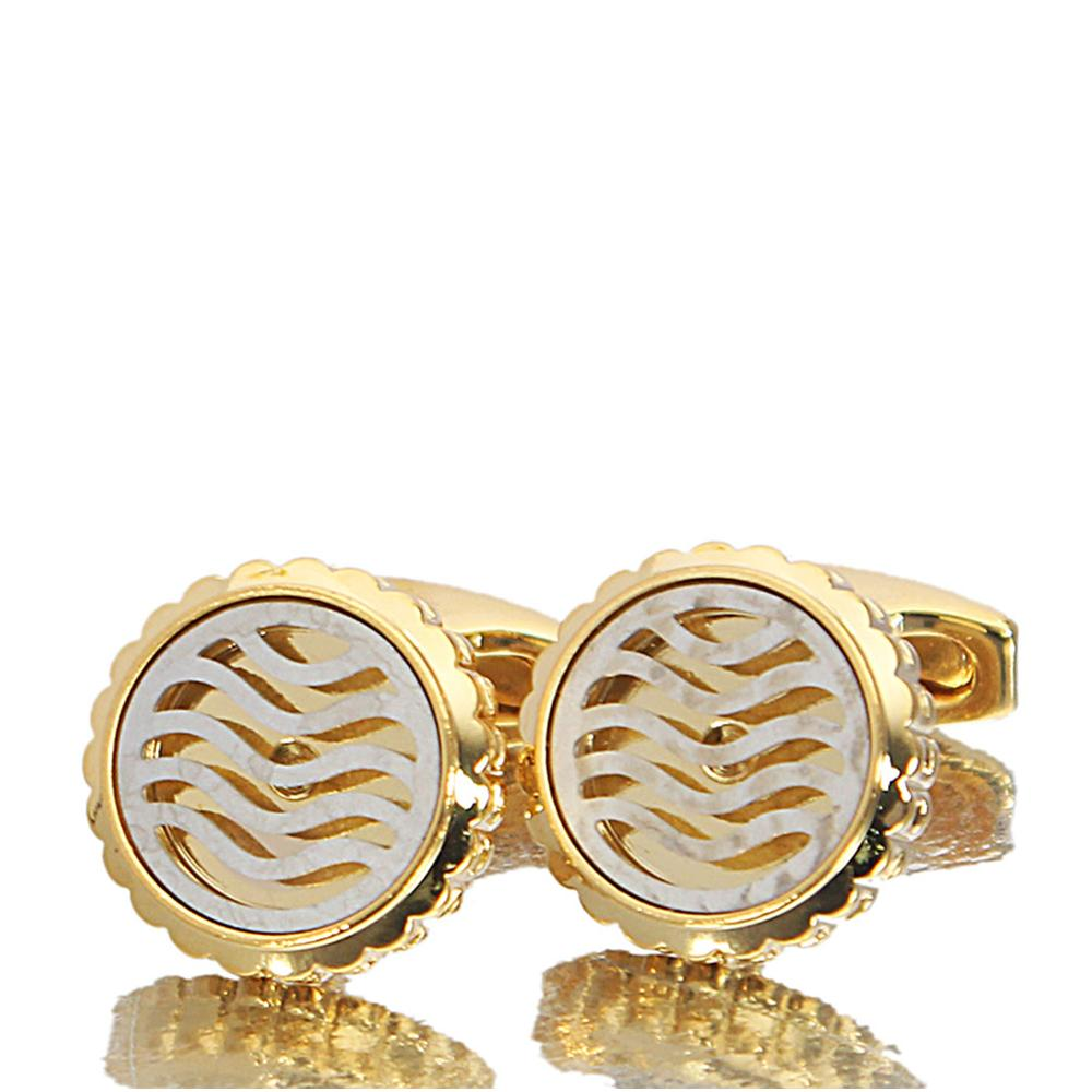 Gold White Patterned Stainless Steel Cufflinks