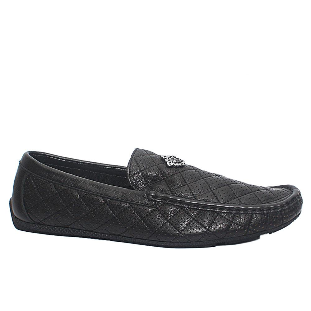 Broker Black Dotted Cowhide Leather Drivers Shoes