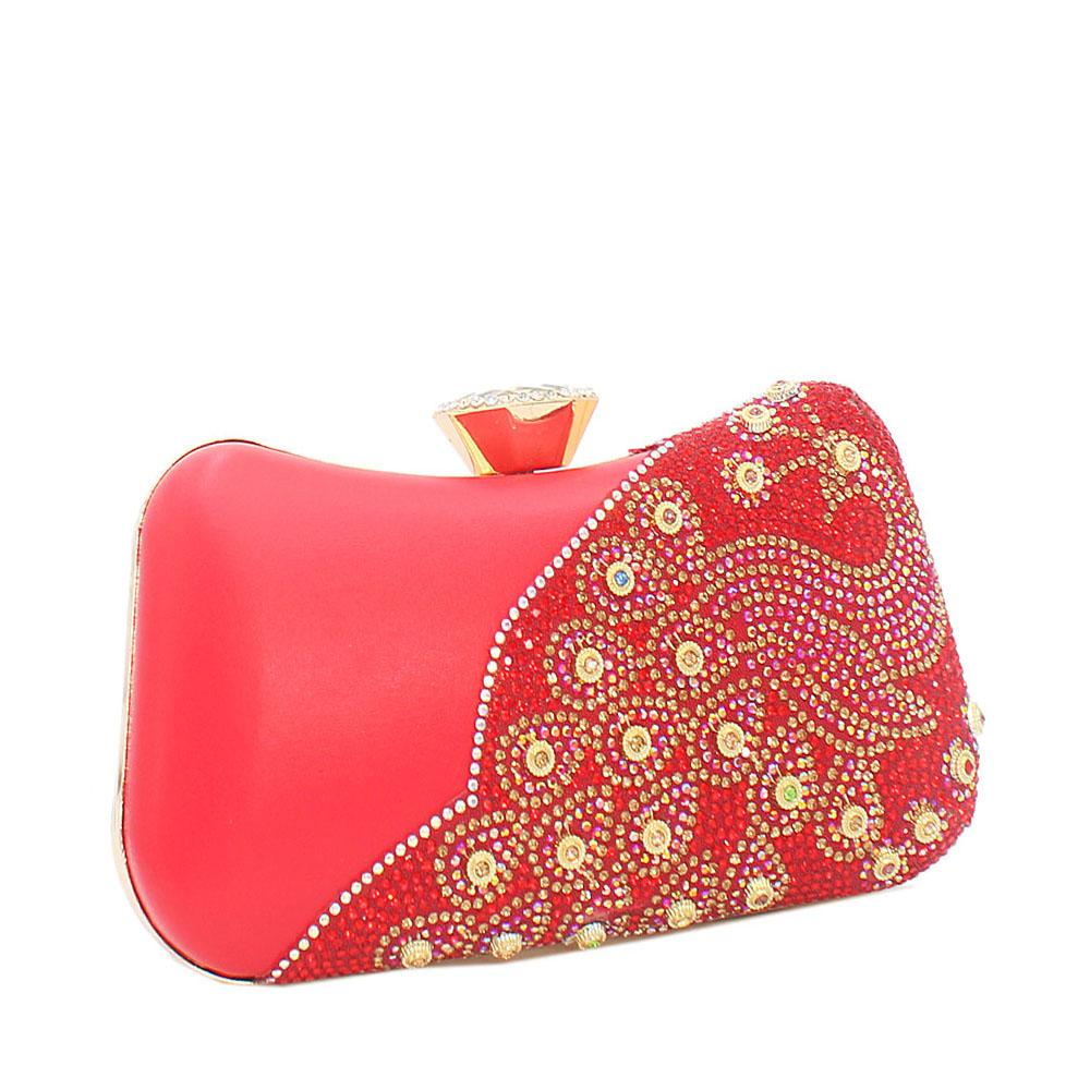 Red Ariel Evoke Studded Leather Clutch Purse